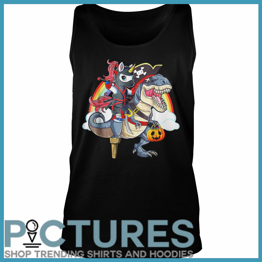 Ninja Unicorn Riding Dinosaur Halloween Tank top