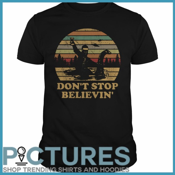 Christmas Vintage Bigfoot Santa riding on Nessie don't stop believin' Guys Tee