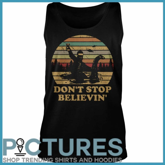 Christmas Vintage Bigfoot Santa riding on Nessie don't stop believin' Tank Top