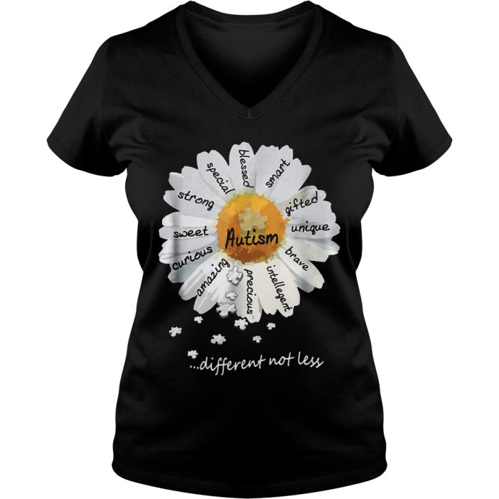 Autism different not less Wild daisies shirt 5