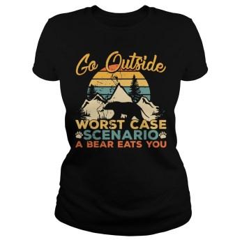 Sunset Retro Go outside worst case scenario a bear eats you ladies tee