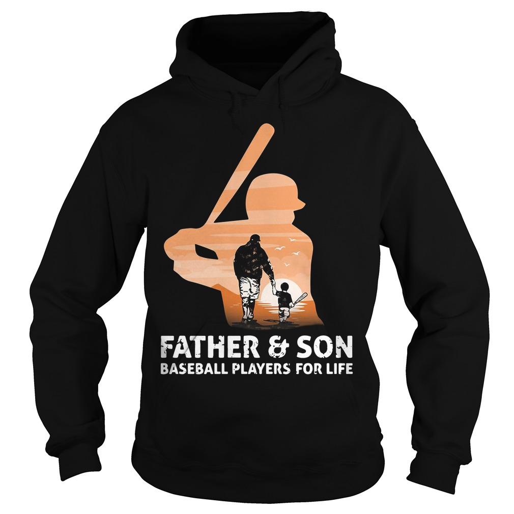 Father and son baseball players for life hoodie