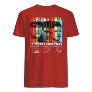 Supernatural 15 years anniversary signatures vintage shirt