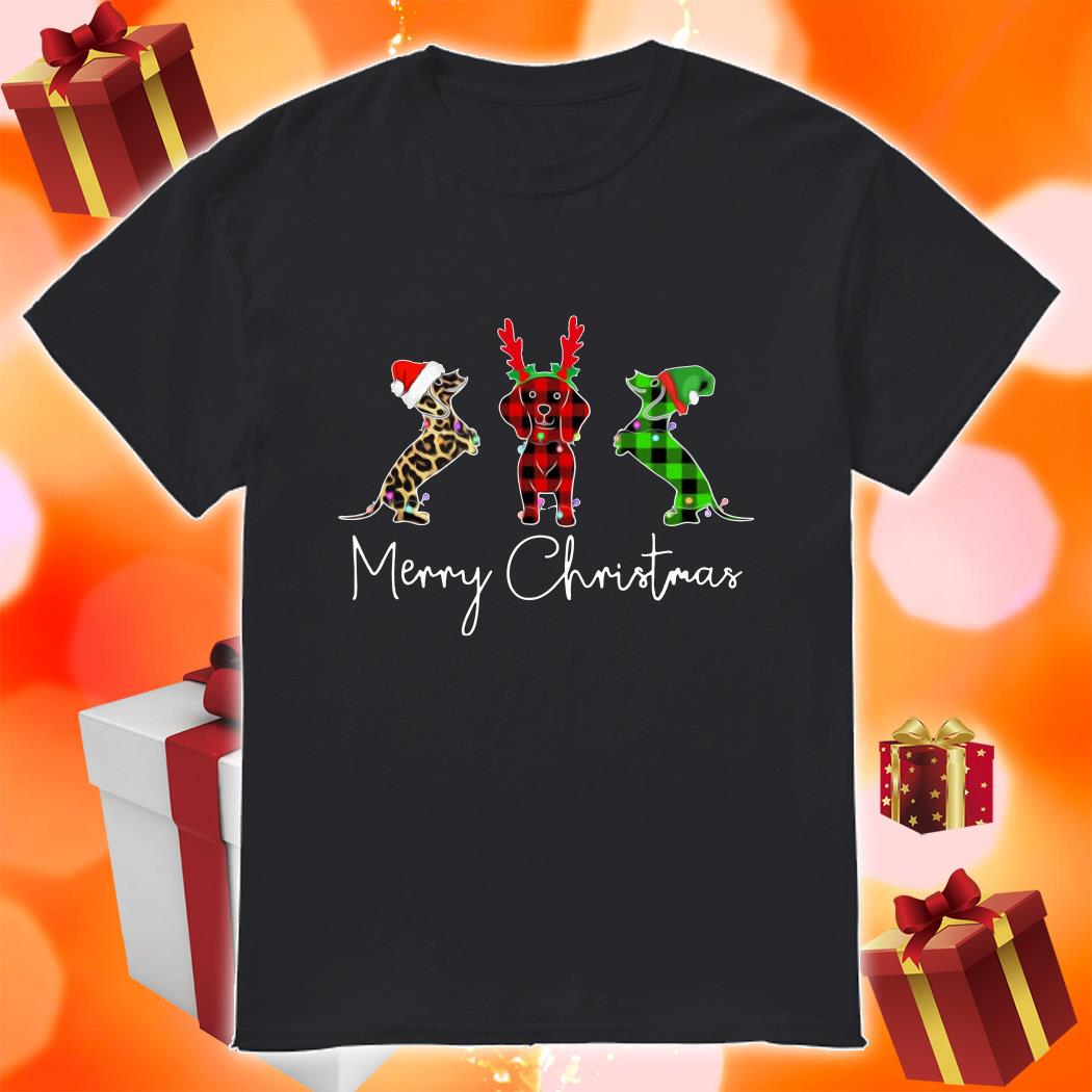 Daschund plaid leopard Merry Christmas shirt