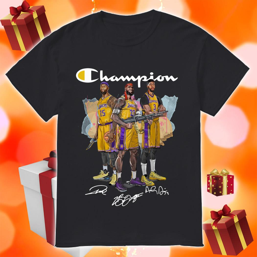 Lebron James Anthony Davis and DeMarcus Cousins Champion shirt