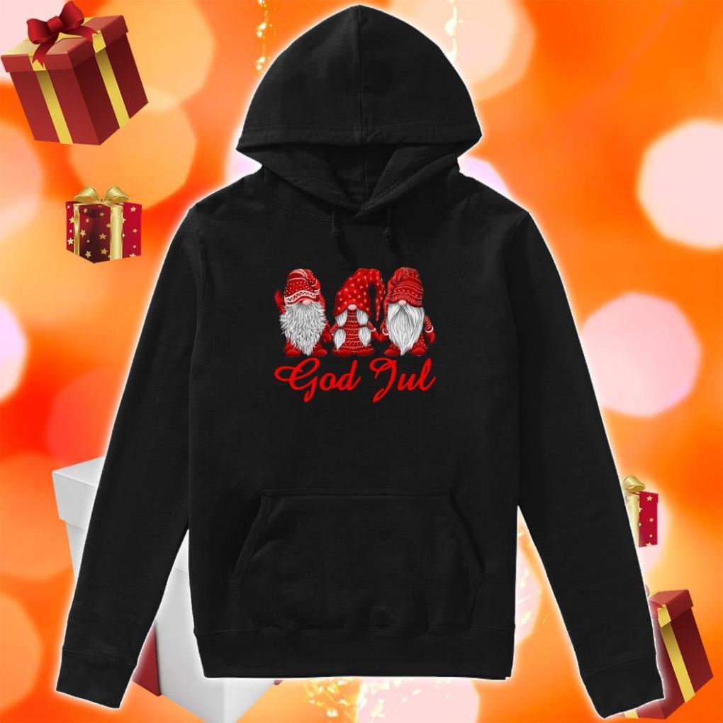 Red Christmas Gnome God Jul hoodie