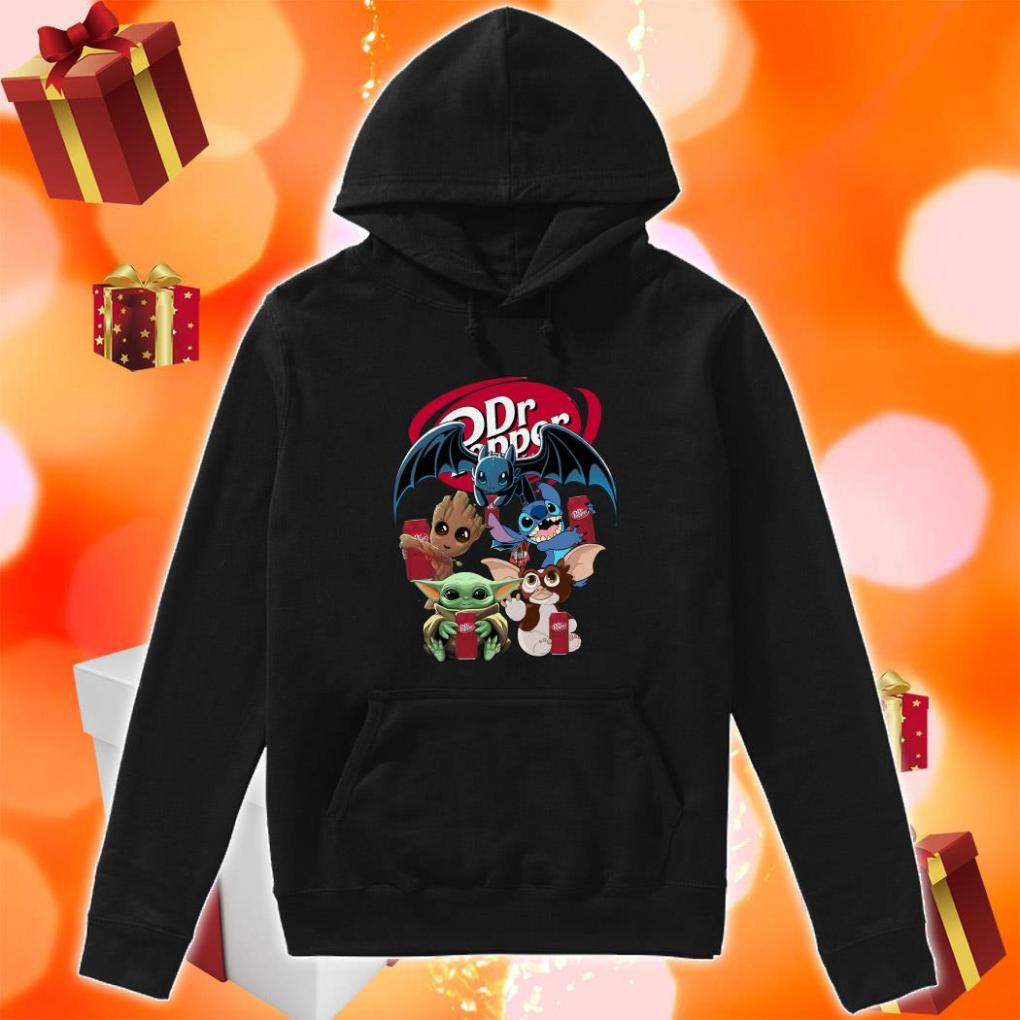 Baby Yoda Baby Groot and Toothless Stitch Gizmo hug Dr Pepper hoodie