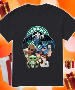 Baby Yoda Baby Groot and Toothless Stitch Gizmo hug Starbucks Coffee shirt