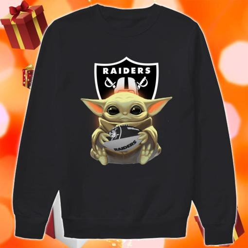 Baby Yoda Hug Ball Raiders sweater