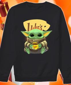 Baby Yoda hug Luke's Coffee sweater