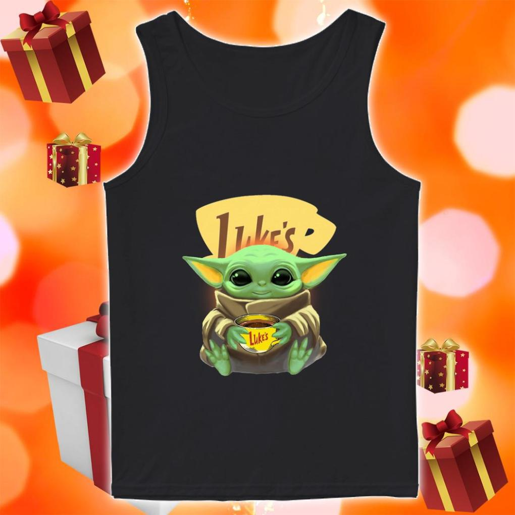 Baby Yoda hug Luke's Coffee tank top