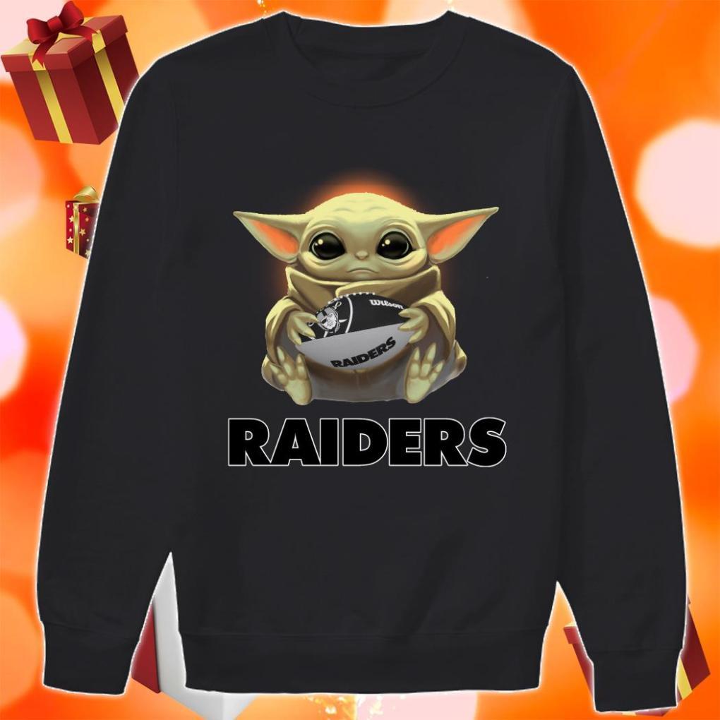 Baby Yoda hug Oakland Raider sweater