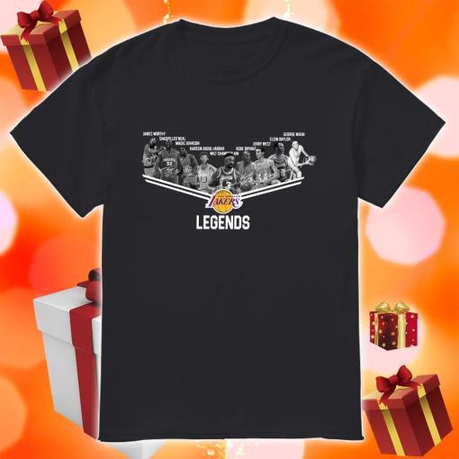 Los Angeles Laker Legends signatures shirt