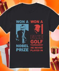Obama and Donald Trump won a nobel prize won a fake golf tournament shirt