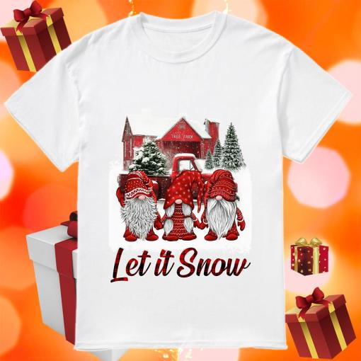 Red Gnomies Let it snow Christmas shirt