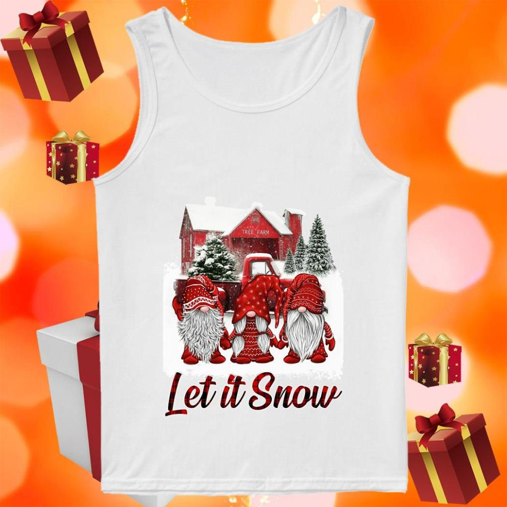 Red Gnomies Let it snow Christmas tank top