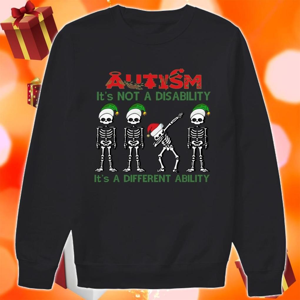 Skeleton Christmas Autism is not a disability it's a different ability sweater