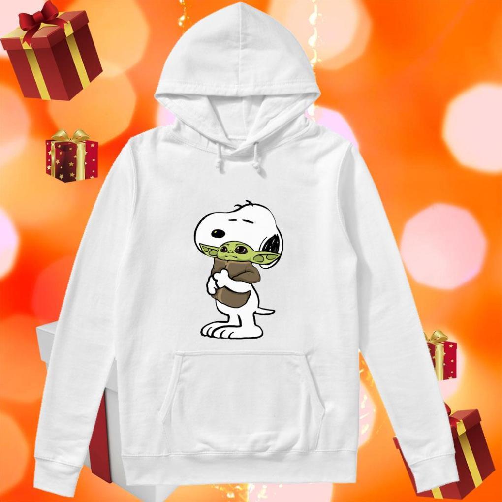 Snoopy hugging Baby Yoda hoodie