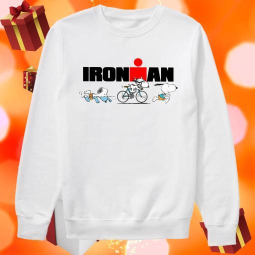 Snoopy Ironman sports swimming riding bike and running sweater