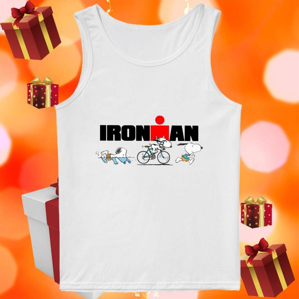 Snoopy Ironman sports swimming riding bike and running tank top