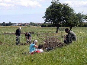 Dave Errickson, Teesside University PhD Researcher working with Tees Archaeology, (front right). Adam Mead Uni Durham Archaeologist (rear right)