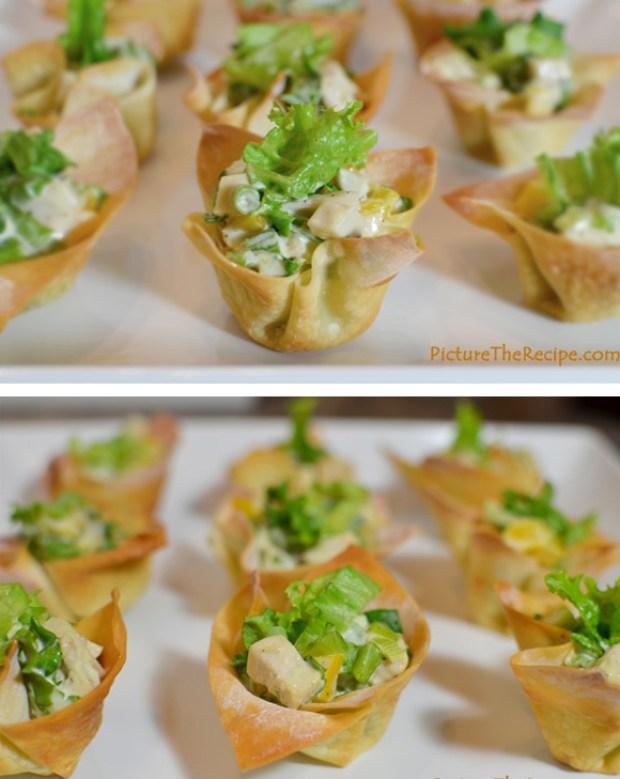 Chicken Salad Wonton cups- Super Bowl