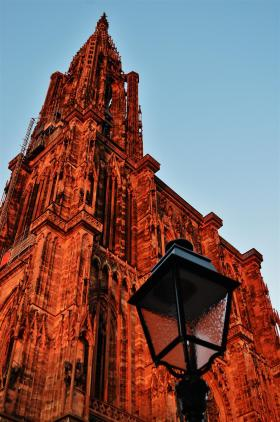 Strasbourg cathedral under the sunset