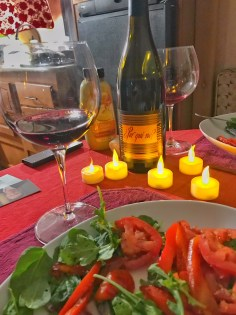 Wine candles dinner