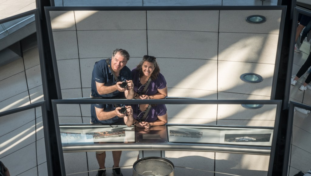 We enjoy the view in the Reichstag Building in Berlin Germany
