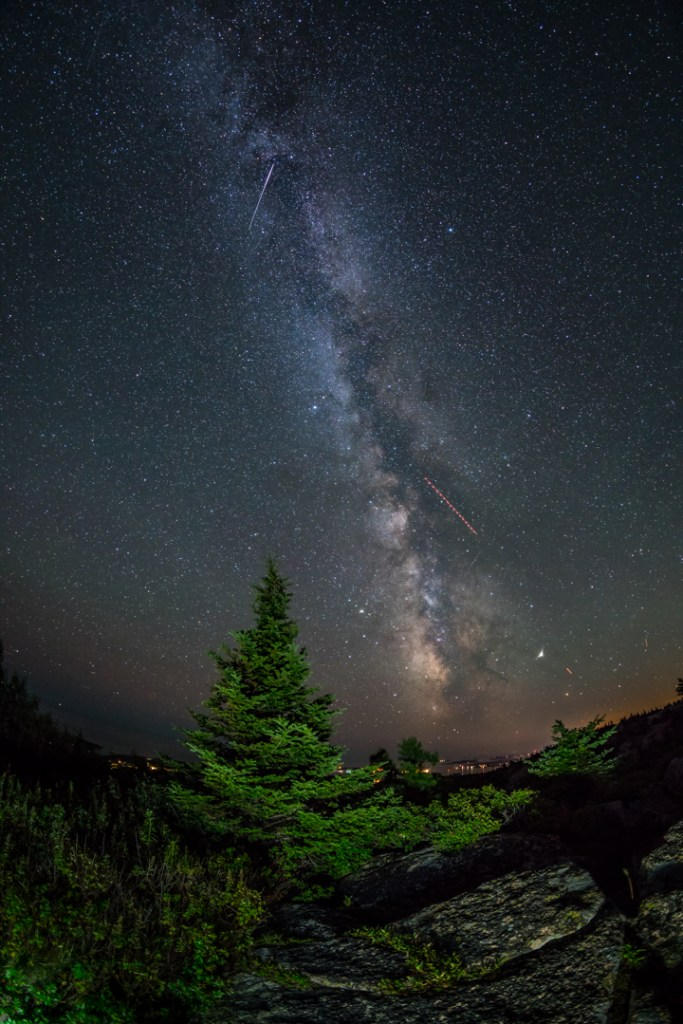 Gorgeous shot of the Milky Way from Cadillac Mountain in Acadia National Park.