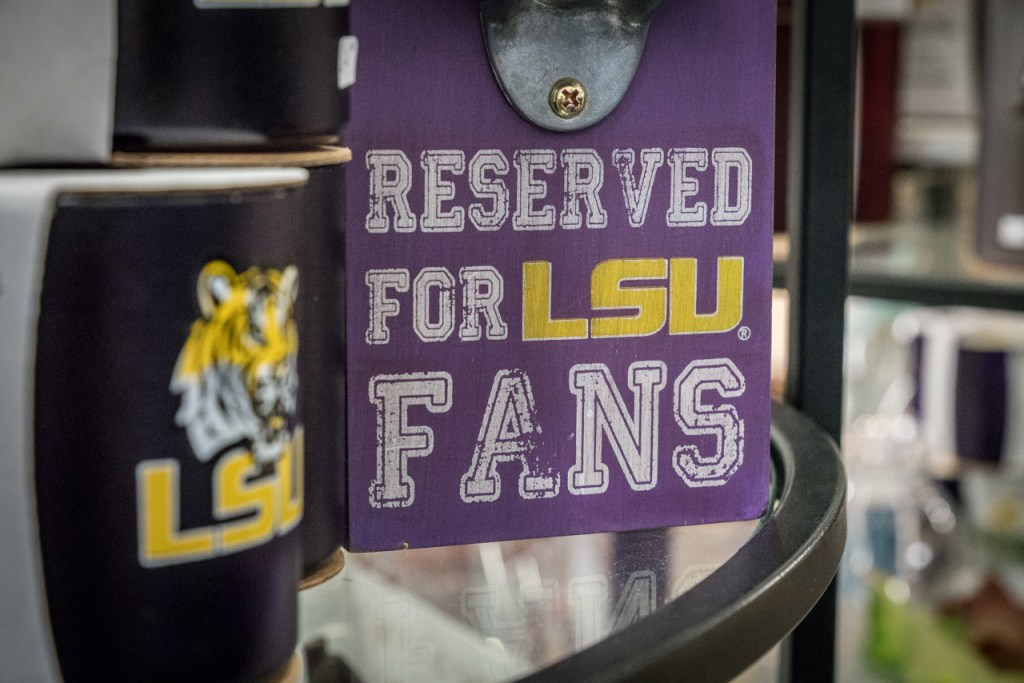 Purple banner saying Reserved for LSU fans.