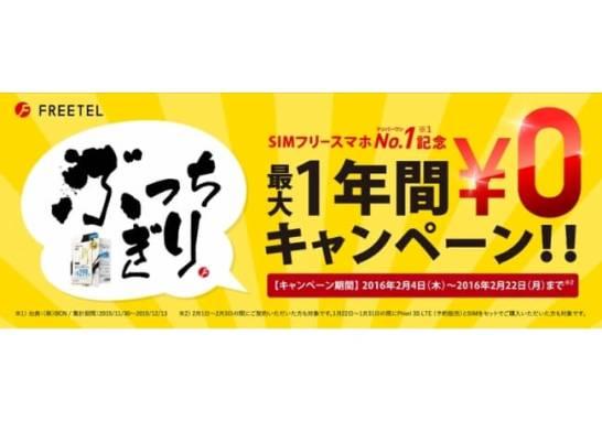 SIMフリー スマホNo.1記念!最大1年間ゼロ円キャンペーン - FREETEL