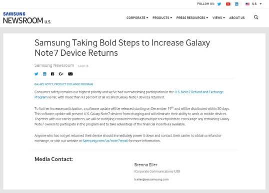 Galaxy Note7 を充電できないようにするアップデートを提供