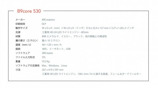 B9 Core 530 - Spec