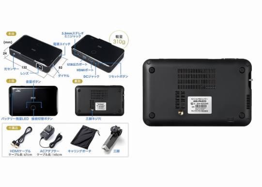 ワイヤレスモバイルプロジェクター(ミラキャスト対応)‐ 400-PRJ022