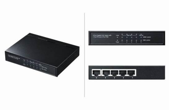 ギガビットスイッチングハブ(5ポート、PoE受電給電両対応)- LAN-GIH5PSEPD