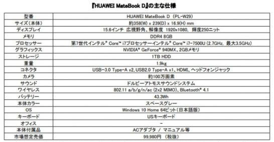 HUAWEI MateBook D - 主な仕様