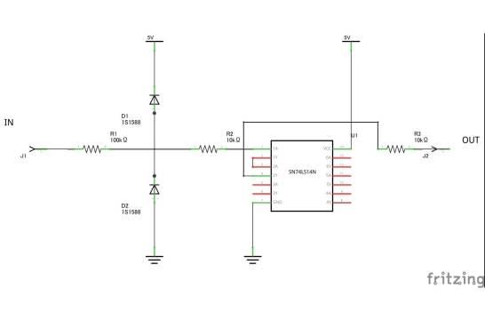 波形を整形する回路 – シュミットトリガインバータ(74LS14N)使用