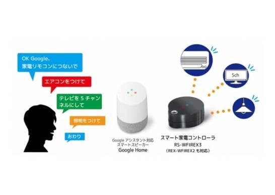 スマート家電コントローラ「RS-WFIREX3」Googleアシスタント対応アプリの提供を開始