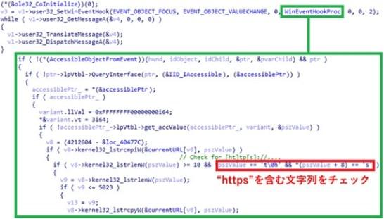 Webブラウザーが現在アクセスしているURLを取得する処理