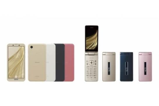 株式会社NTTドコモ向け 2018年冬-2019年春モデル 2機種 左から、スマートフォン「AQUOS sense2」<SH-01L>、携帯電話「AQUOS ケータイ」<SH-02L>