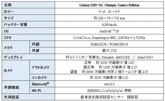 Galaxy S20+ 5G Olympic Games Edition - 主な仕様