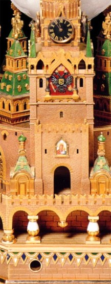 Minature Replica of Spasskaya Tower as part of the Moscow Kremlin Imperial Egg