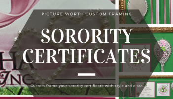Sorority certificates collage by Picture Worth Custom Framing
