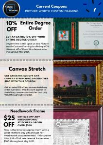 Picture Worth Custom Framing Current Coupons- MAY 2021