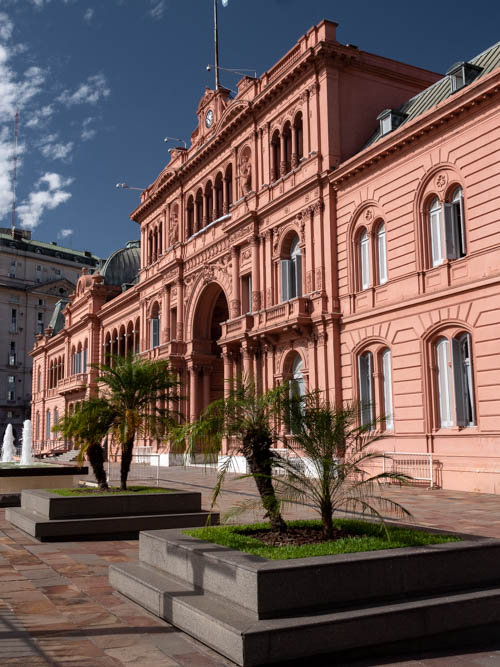 The pink exterior of Casa Rosada, Buenos Aires, Argentina