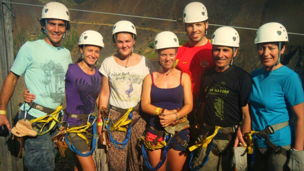 Group prepares to zip line on Inca Jungle Trail to Machu Picchu