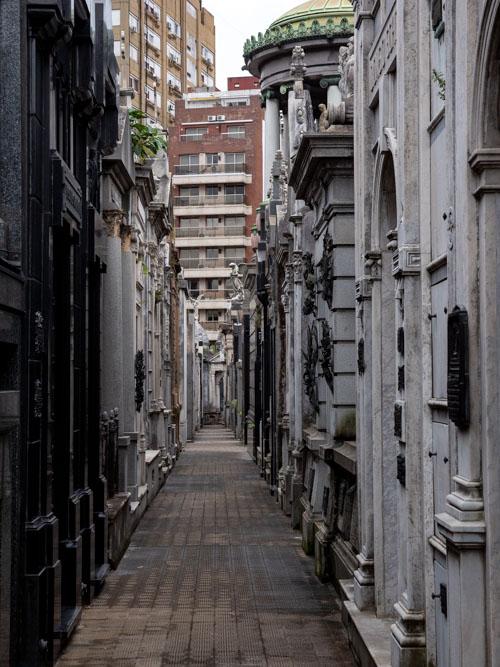 An alleyway of graves on Recoleta Cementerio, Buenos Aires, Argentina