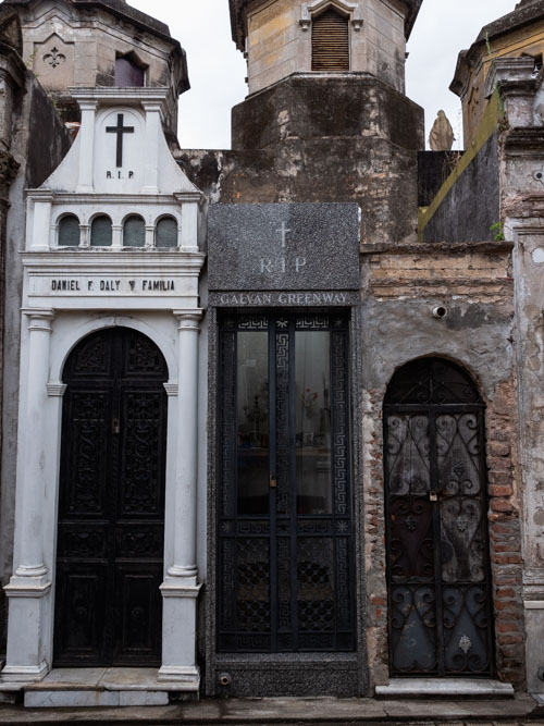 Three graveyards of different shapes and sizes in Recoleta Cementerio, Buenos Aires, Argentina
