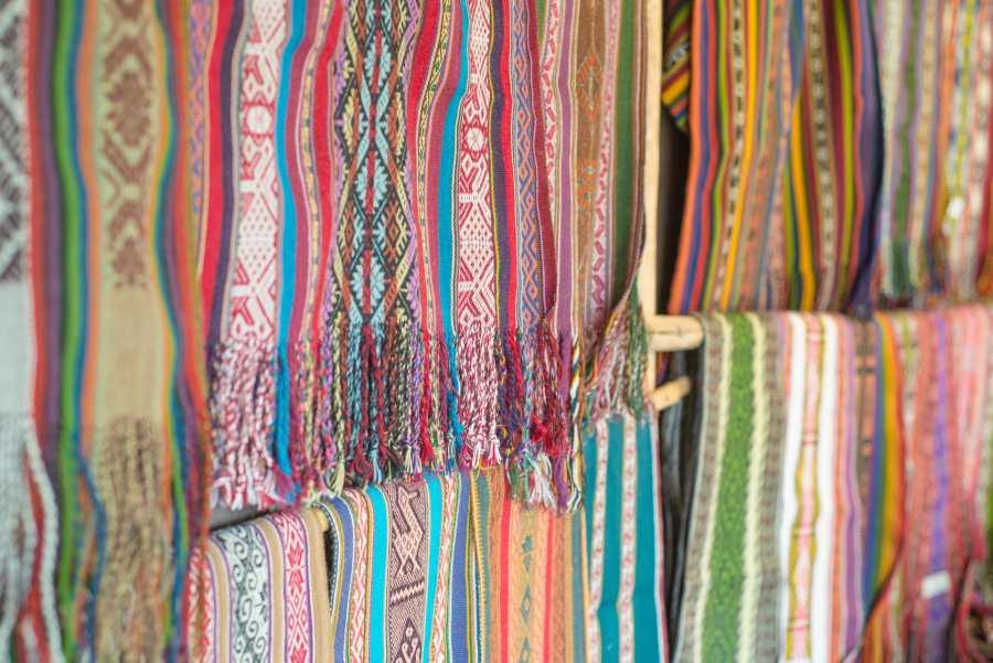 Peruvian textile weaving - Finished Scarves at Amaru Village